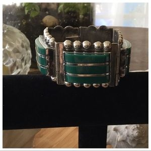 VTG Sterling Mexico Taxco Green Onyx Wide Bracelet